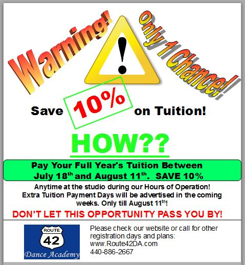 Dance Tuition Savings!
